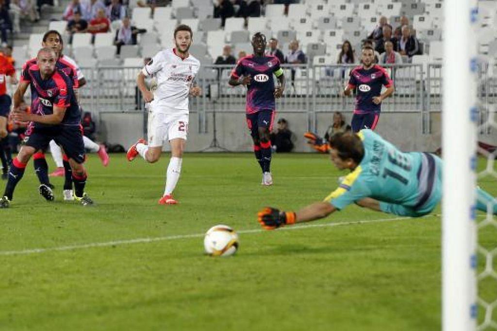 e Bordeaux, France - 17/9/15  Adam Lallana menjaringkan gol Liverpool dalam perlawanan Liga Europa menentang Bordeaux yang berakhir dengan seri 1-1 pada Khamis, 17 September. Gambar REUTERS