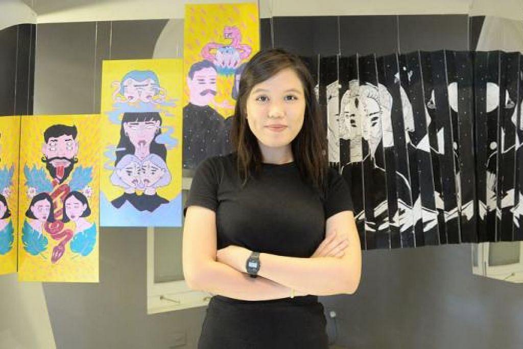PERANTIS SENI: Cik Marina Ahmad telah menghasilkan karya seni berdasarkan pengalaman beliau menerusi program perantisan seni dan rekaan pesta seni Noise Singapore 2015. - Foto JOHARI RAHMAT