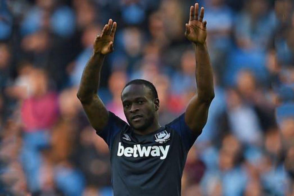 VICTOR MOSES: Pemain tengah Nigeria ini, yang dipinjamkan Chelsea kepada West Ham, menjaringkan gol pembukaan pasukannya ke atas pendahulu Liga Perdana, Manchester City. - Foto AF