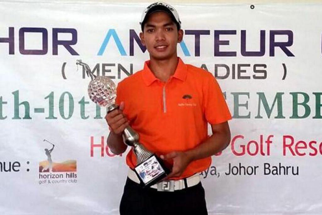 PRESTASI MENYERLAH: Pemain berbakat, Abdul Hadi Uda, menunjukkan prestasi cemerlang semasa menjuarai Terbuka Amatur Johor yang diadakan di Horizon Hills Golf & Country Club pada awal bulan ini. - Foto IHSAN UDA THITH