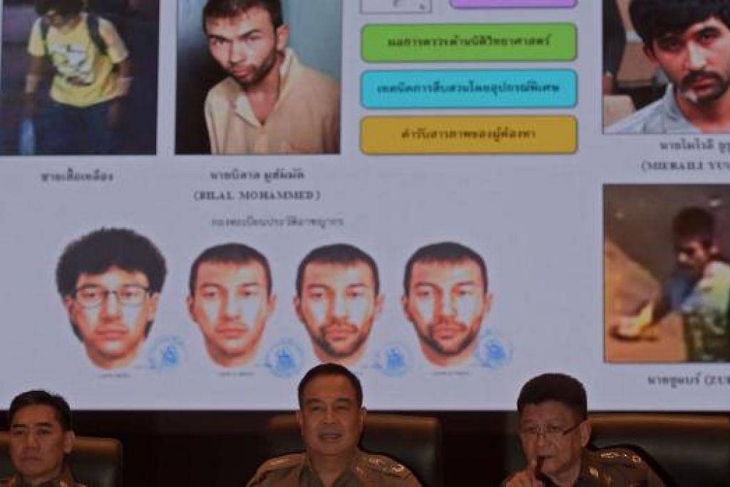 Ketua polis Thailand, Jeneral Somyot Poompanmoung (tengah), bercakap dalam sidang akhbar di ibu pejabat polis di Bangkok pada 28 September. Polis menyatakan warga asing bernama Adem Karadag (atas dua dari kiri pada skrin) ialah lelaki yang meletak bom dalam serangan di Kuil Erawan. Gambar  AFP