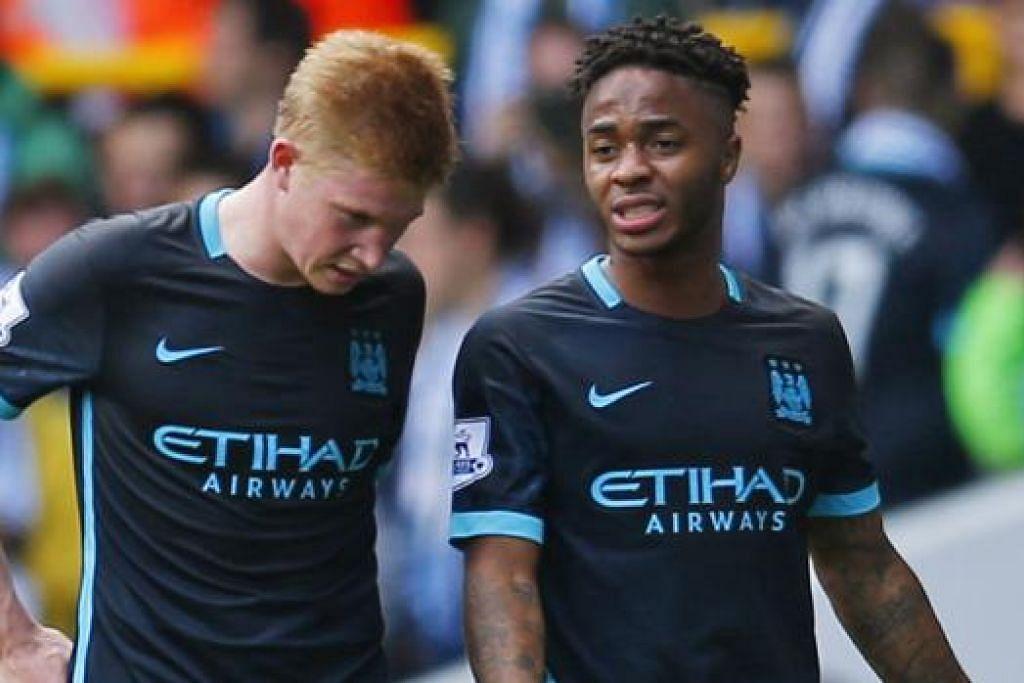 WAJAH-WAJAH KECEWA: Dua bintang Manchester City, Kevin De Bruyne (kiri) dan Raheem Sterling, perlu mengetepikan kekecewaan tiga kekalahan lalu bagi menyemarakkan semula saingan pasukan. - Foto REUTERS