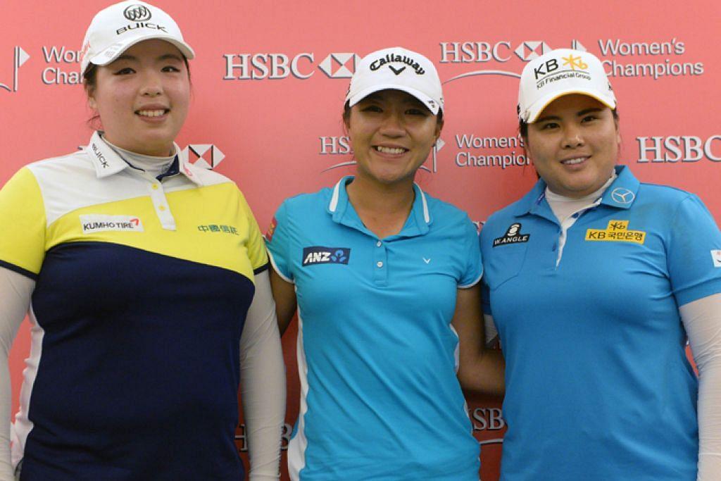 TIGA SERANGKAI PILIHAN: (Dari kiri) Feng Shanshan dari China, Lydia Ko dari New Zealand dan juara bertahan, Park In Bee, dari Korea Selatan antara pemain yang mampu menjuarai kejohanan tahun ini.
