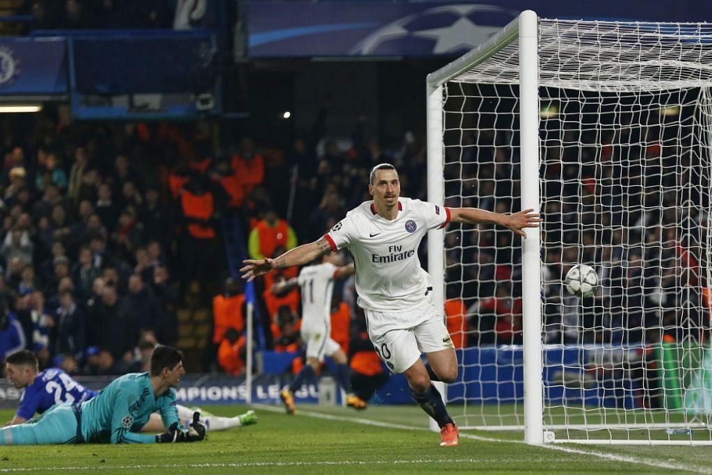 Zlatan Ibrahimovic meraikan gol kedua PSG yang dijaringkannya dalam kemenangan 2-0 ke atas Chelsea dalam perlawanan kedua peringkat 16 pasukan Piala Juara-Juara di Stamford Brige pada Rabu (9 Mac). Gambar REUTERS