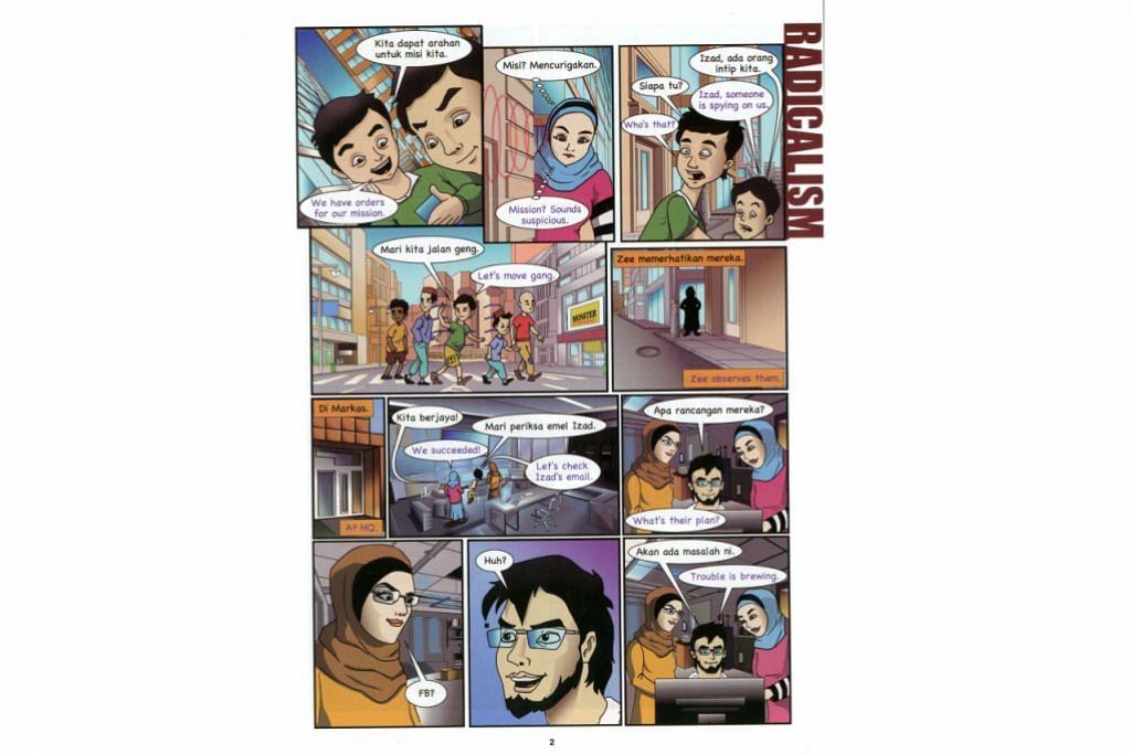 CABARAN RADIKALISME: Antara kisah yang diselitkan dalam komik 'Super 7 Dashyatun' termasuk tentang cabaran pengaruh fahaman radikal yang dihadapi belia.
