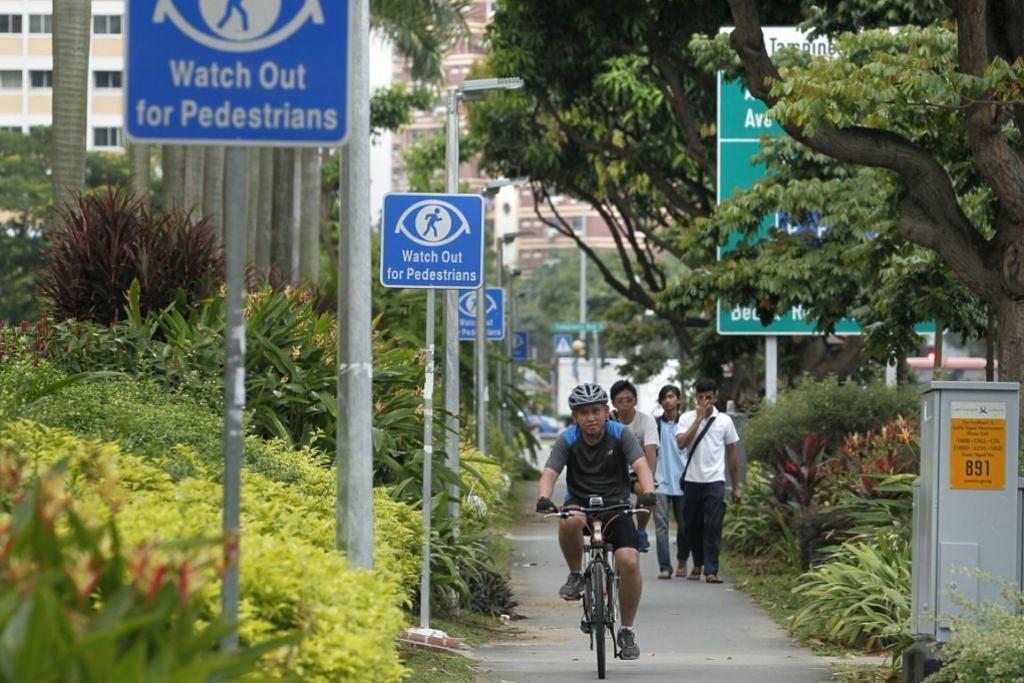 Berbasikal di laluan pejalan kaki sekarang ini hanya dibolehkan di Tampines. Gambar fail: