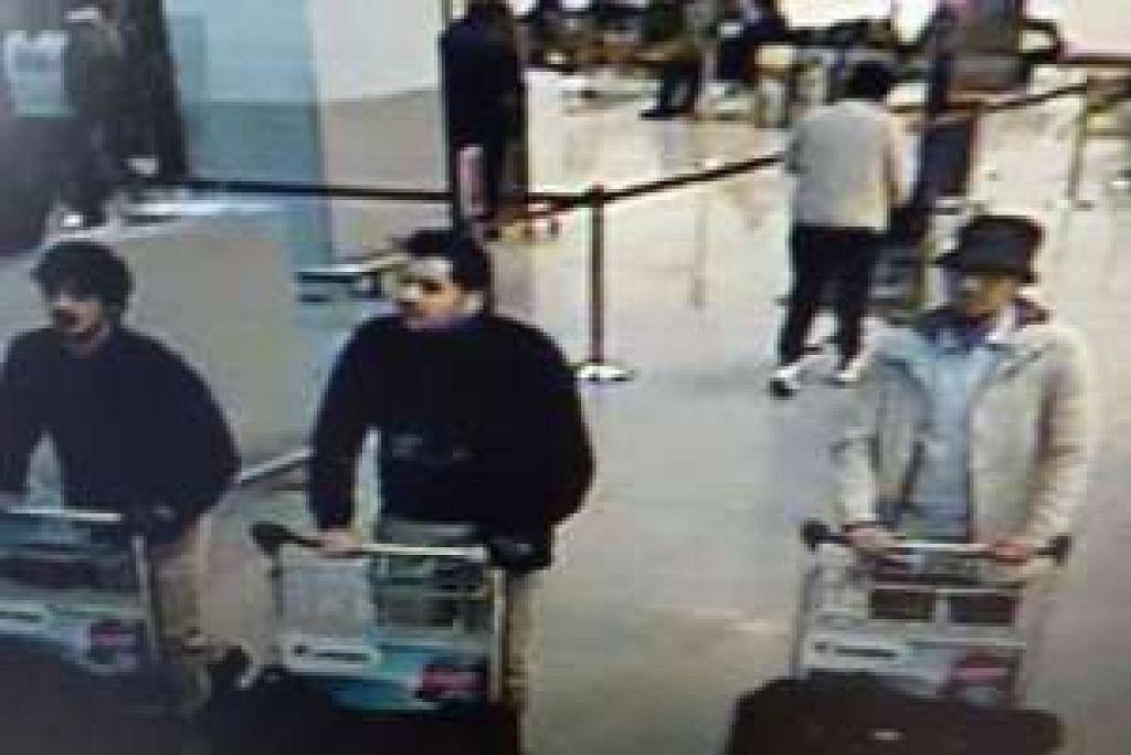 Penyiasat Belgium berkata mereka sedang memberi tumpuan mencari lelaki bertopi yang dirakam televisyen litar tertutup (CCTV) menolak troli bagasi sarat di Lapangan Terbang Brussels bersama dua lelaki lain yang dipercayai  melakukan serangan bunuh diri itu.