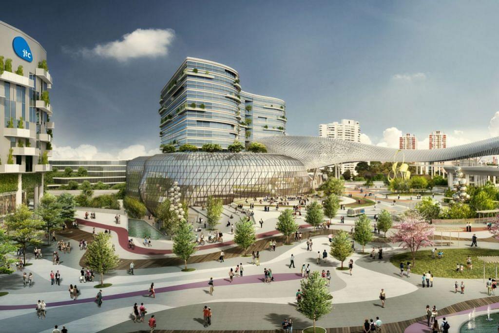 MENJANA PERTUMBUHAN EKONOMI: Lakaran artis Kawasan Inovasi Jurong (JID) yang akan dibina di Jurong West dan dijangka siap menjelang 2020. - Foto JTC