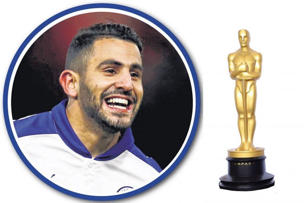 PELAKON PEMBANTU TERBAIK RIYAD MAHREZ: Muncul dengan gol-gol penting Leicester sepanjang musim ini.