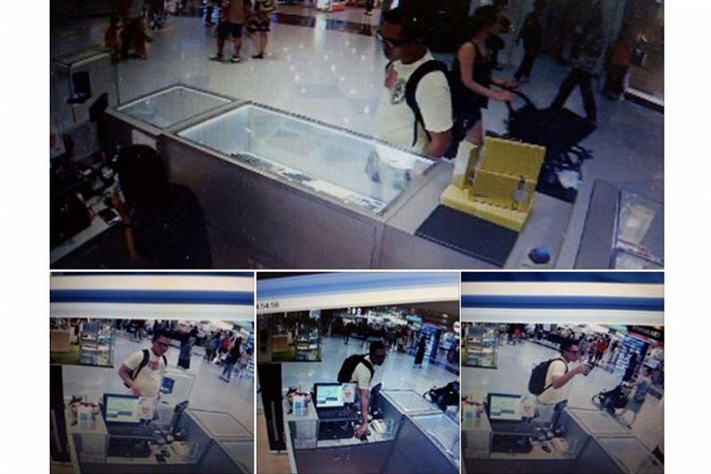 BUKTI: Rakaman CCTV ini menunjukkan bagaimana seorang lelaki mencuri telefon bimbit milik Cik Nurul Hafizah. - Foto FACEBOOK