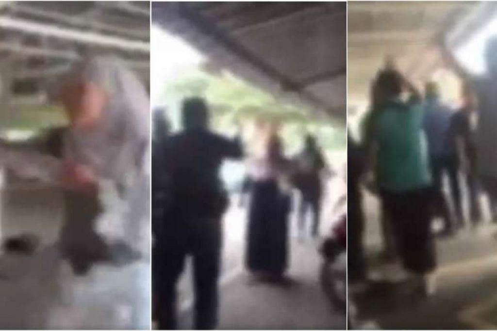 (Kiri) Bakal pengantin perempuan menarik tudung seorang wanita lain. (Tengah dan kanan) Keluarga pasangan bakal pengantin bergaduh di dalam masjid.