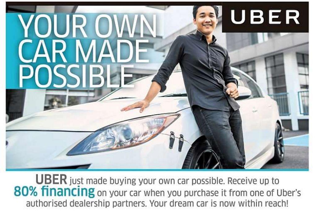 Iklan Uber yang menawarkan skim pinjaman kereta yang mengatakan pengguna boleh mendapatkan pinjaman hingga 80 peratus daripada harga kereta.