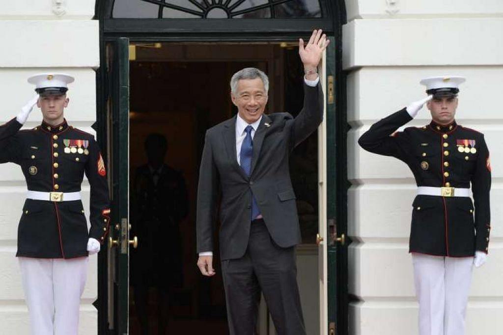 Perdana Menteri Lee Hsien Loong tiba bagi majlis jamuan malam di Rumah Putih pada Khamis, 31 Mac 2016 di Washington.