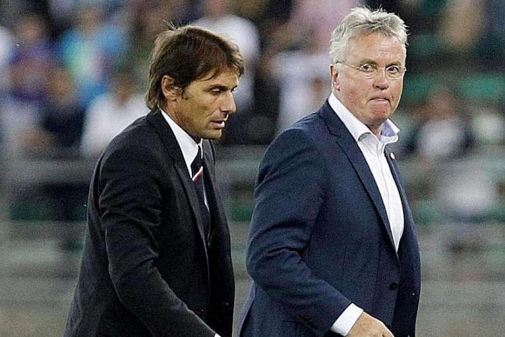 Jurulatih sementara Chelsea, Guus Hiddink (kanan), akan menyerahkan tampuk Stamford Bridge kepada bekas jurulatih Juventus, Antonio Conte (kiri), selepas musim ini