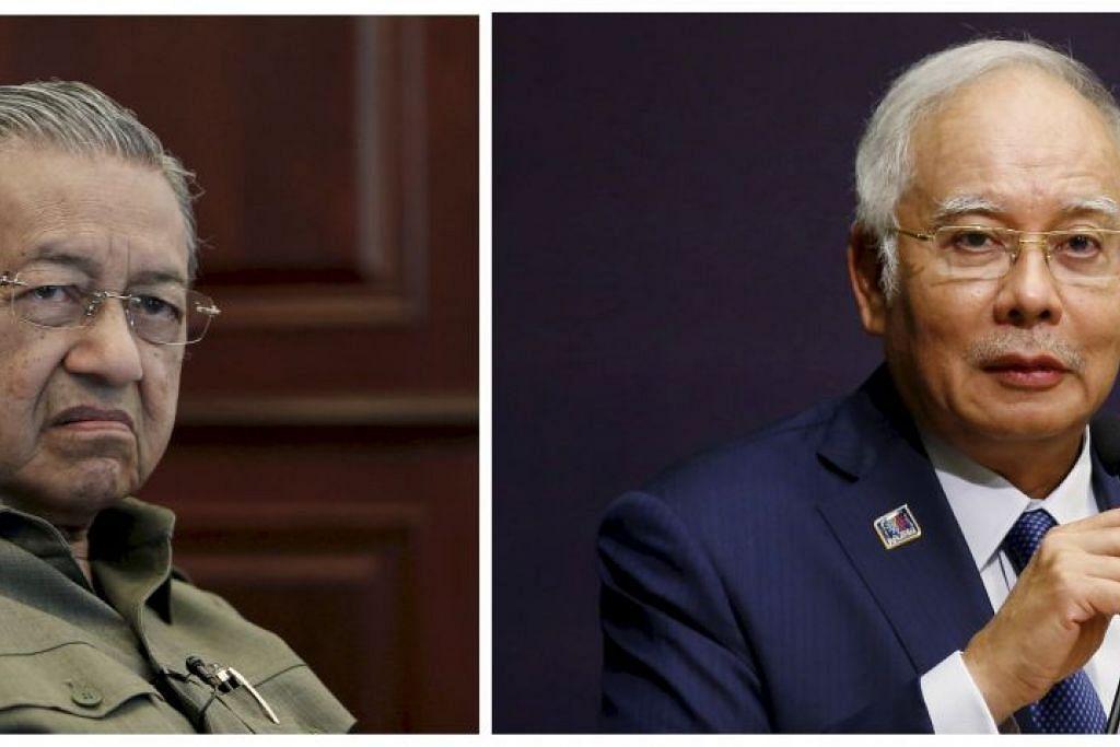 Tun Dr Mahathir (kiri) mahu menghalang Datuk Seri Najib memindahkan, mengeluarkan atau berurusan dengan aset – termasuk hartanah, wang tunai dan aset lain yang disimpan di bank, institusi kewangan dan sebagai saham syarikat – bernilai sehingga RM2.6 bilion ($900 juta).
