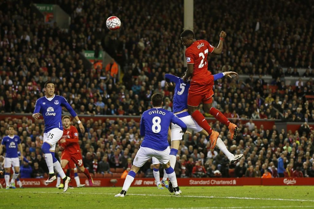 Divock Origi menjaringkan gol pertama Liverpool dalam kemenangan 4-0 ke atas Everton di Anfield pada Rabu (20 Apr).