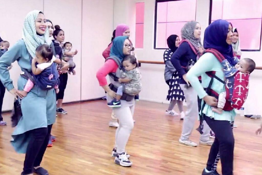 ERATKAN HUBUNGAN: Sesi berdansa sambil menggendong bayi kendalian Cik Intan Armelia Mohd Ali (kanan) boleh membantu mengurangkan tekanan dan mengeratkan lagi hubungan antara golongan ibu muda dan antara ibu dengan anak. – Foto FACEBOOK