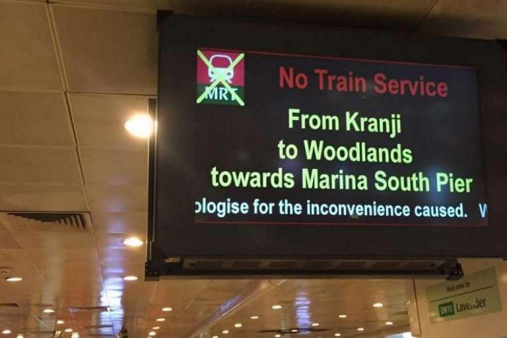 Paparan mengumumkan gangguan perkhidmatan di Laluan Utara-Selatan pada pagi Selasa (April 26). O: