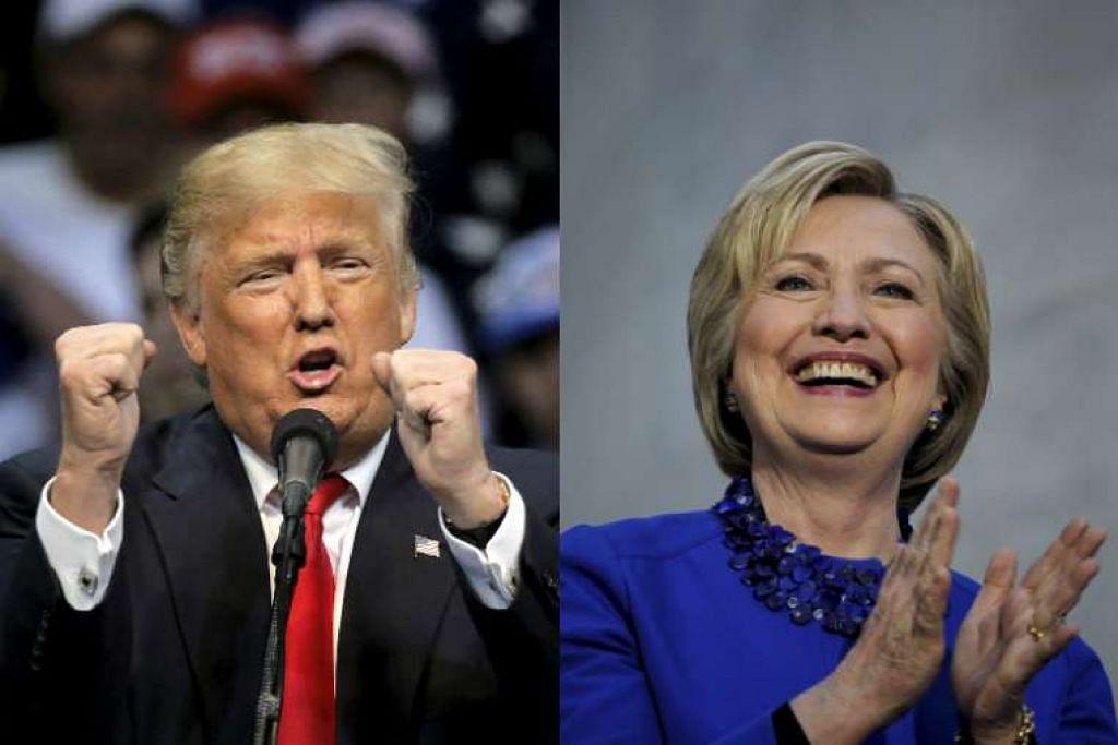 Encik Donald Trump dan Cik Hillary Clinton bercakap semasa perhimpunan kempen mereka di Philadelphia.