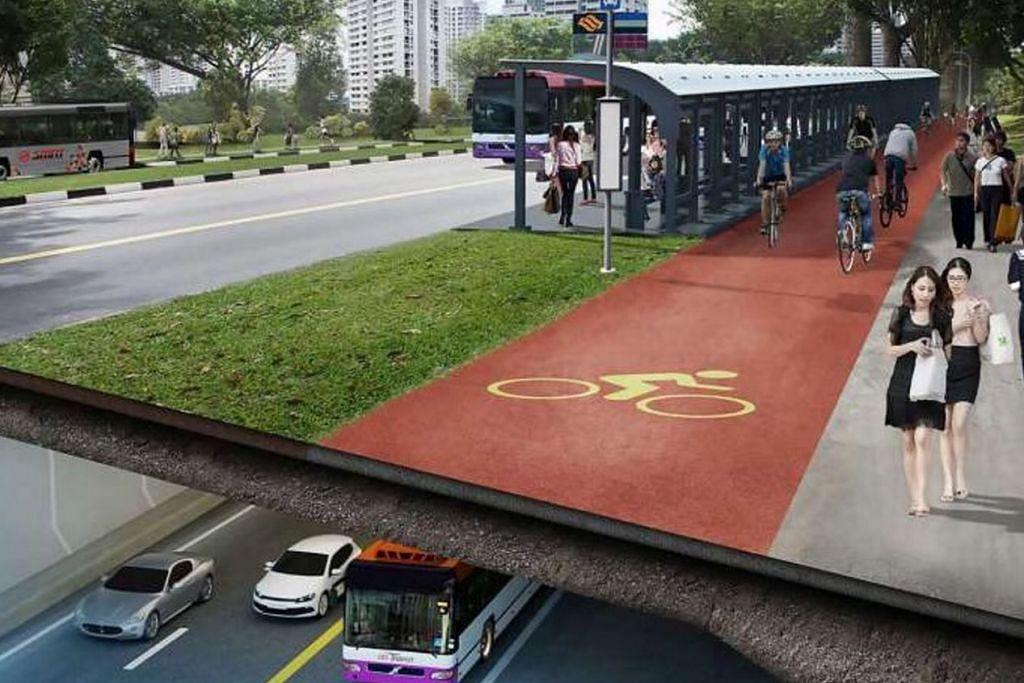 KORIDOR PENGANGKUTAN BERSEPADU: Ekspreswe baru Utara-Selatan akan menampilkan lorong khusus bagi setiap jenis pengangkutan seperti bas dan basikal. - Lakaran artis LTA