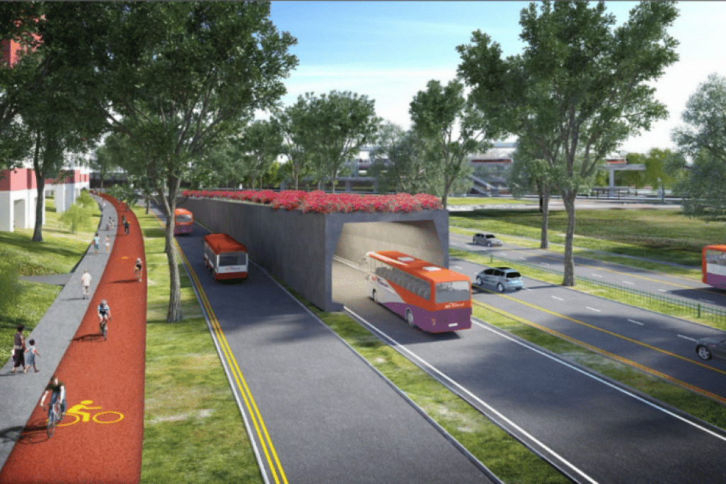 Gambaran artis mengenai  lorong khusus bas dalam terowong dan di permukaan jalan di Koridor Utara-Selatan.