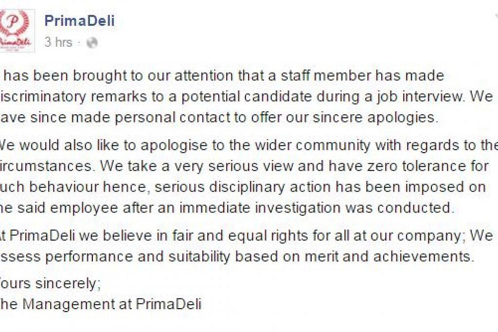 PERMOHONAN MAAF: Syarikat rangkaian membuat kek dan roti, PrimaDeli, menyatakan permohonan maaf terhadap Cik Sarah dan kepada masyarakat secara amnya. - Foto FACEBOOK