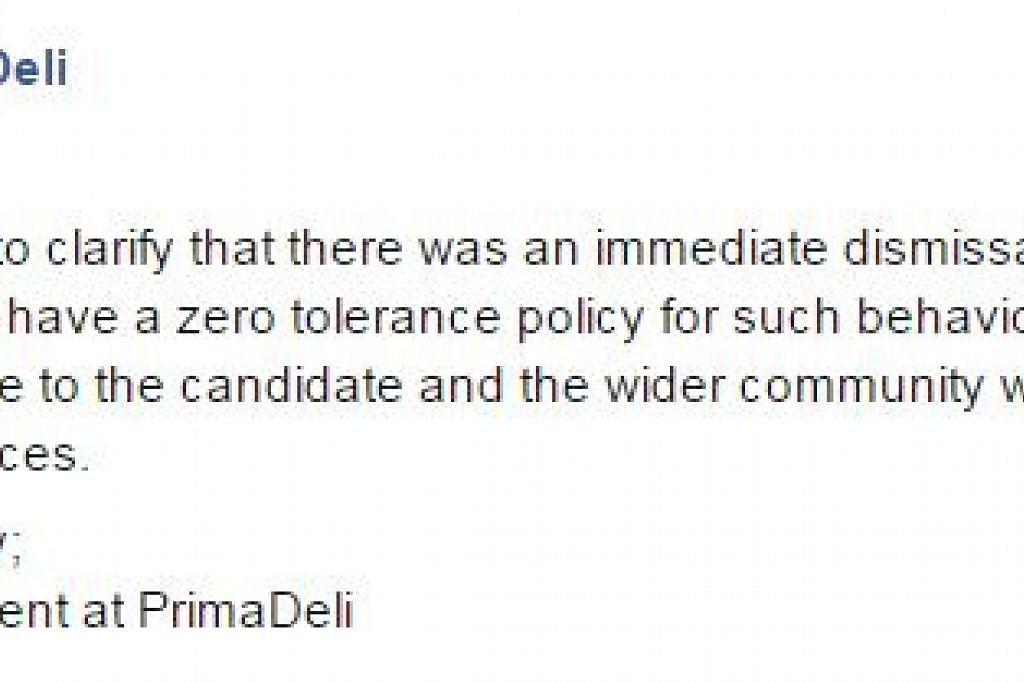 TINDAKAN TEGAS: PrimaDeli menyatakan di Facebook kira-kira sejam lalu bahawa kakitangan tersebut telah dipecat. - Foto FACEBOOK