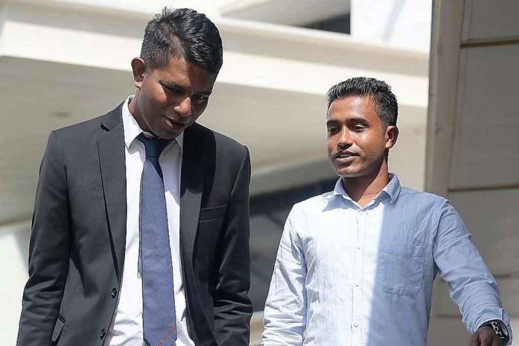 Encik Shahidulla Md Anser Ali (kanan) dan peguam Kalidass Murugaiyan, yang mengambil kes pekerja Bangladesh itu secara pro bono, meninggalkan mahkamah pada Jumaat (6 Mei).
