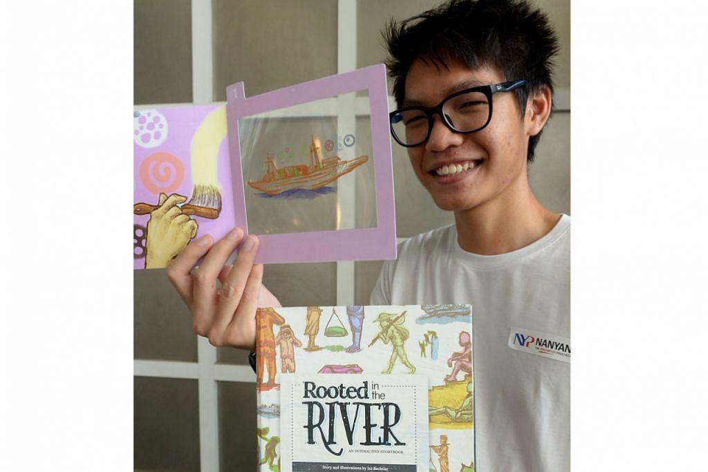 ILUSTRASI INTERAKTIF: Encik Izz Bachtiar Affandi memanfaatkan kemahiran melukis dan minat terhadap sejarah dalam buku Rooted In The River. – Foto TUKIMAN WARJI