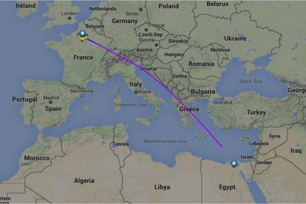 Gambar skrin daripada laman flightradar24.com yang menunjukkan laluan penerbangan  MS804 EgyptAir yang hilang pada Khamis (19 Mei).