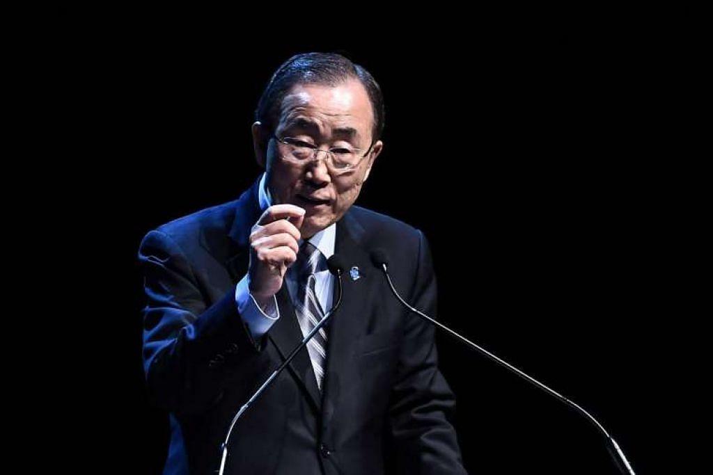 Setiausaha Agung PBB, Encik Ban Ki Moon, semasa di Sidang Puncak Kemanusiaan Dunia pada 24 Mei 2016.
