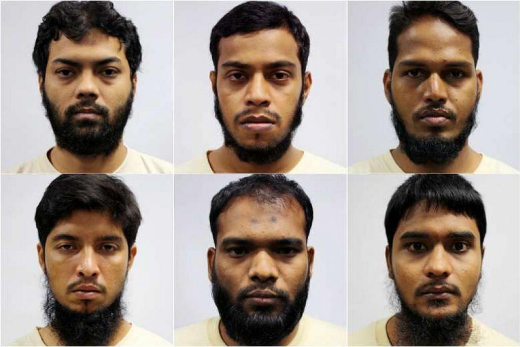 HADAPI TUDUHAN: Enam warga Bangladesh dihadapkan ke Mahkamah Negara hari i (ikut putaran jam, dari kiri sebelah atas) ketua kumpulan, Rahman Mizanur, 31 tahun; Miah Rubel, 26 tahun; Md Jabath Kysar Haje Norul Islam Sowdagar, 30 tahun; Sohel Hawlader Ismail Hawlader, 29 tahun; Zzaman Daulat, 34 tahun; dan Mamun Leakot Ali, 29 tahun. - Foto MHA