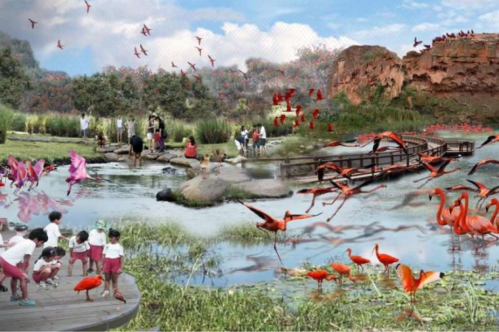 Gambaran artis aviari dengan lanskap menyerupai habitat semula jari unggas di taman burung baru di Mandai.