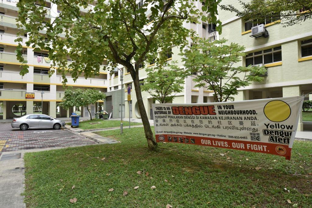 Kain rentang NEA memberi amaran tentang demam denggi di depan Blok 653 Jalan Tenaga pada 30 Mei 2016. Seorang lelaki warga Singapura berusia 79 tahun yang tinggal berhampiran meninggal dunia akibat penyakit itu pada 29 Mei.
