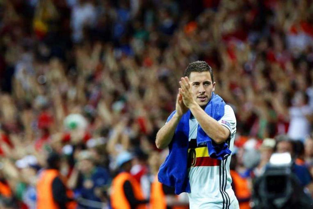 Eden Hazard menyanjungi penyokong selepas Belgium mengalahkan Hungary 4-0 dalam pusingan kalah mati Euro 2016 di Stade Municipal di Toulouse, Perancis, pada 26 Jun 2016.