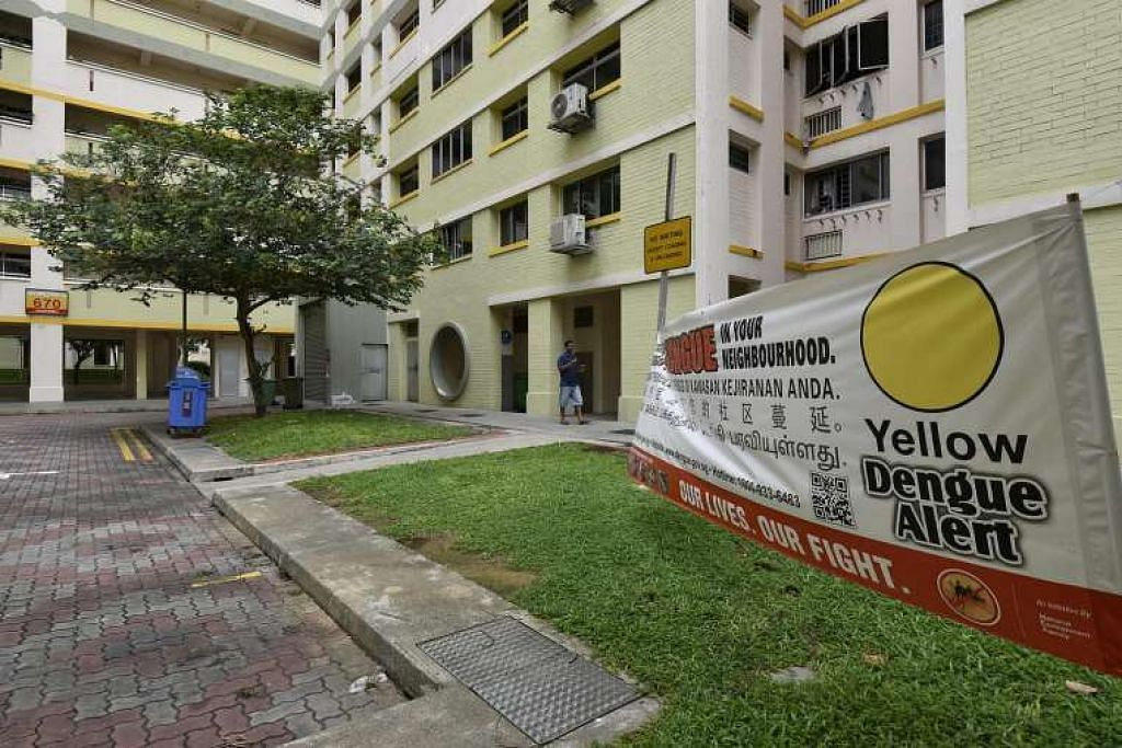 Kain rentang memberi peringatan tentang penyakit denggi di depan Blok 670 di Jalan Damai, dekat Eunos.