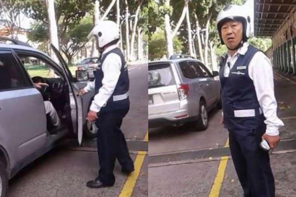 Pegawai penguat kuasa LTA dilihat bertengkar dengan pemandu kereta sebelum beliau menarik buka pintu kereta. itu.