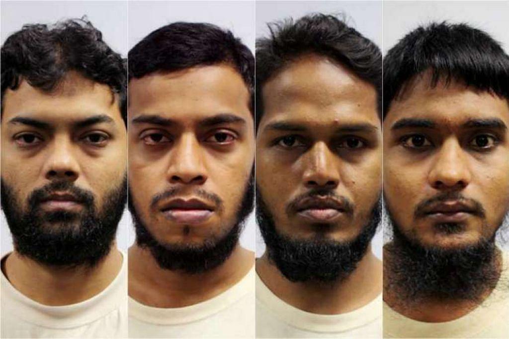 (Dari kiri) Rahman Mizanur, Miah Rubel, Md Jabath Kysar Haje Norul Islam Sowdagar,  dan Sohel Hawlader Ismail Hawlader menggelarkan kumpulan mereka Negara Islam di Bangladesh (ISB) dan masing-masing mempunyai peranan jelas dalam kumpulan itu.