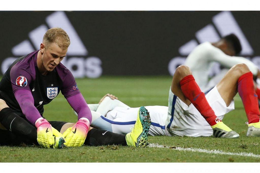 HMMM... KECEWA: England merupakan antara pasukan pilihan di Euro 2016. Diundi dalam Kumpulan B bersama Wales, Slovakia dan Russia, anak buah Roy Hodgson dijangka menjuarai kumpulan tersebut. Tetapi itu tidak berlaku dan England melangkah ke pusingan kedua di belakang Wales. Namun kelemahan England akhirnya didedahkan dengan kekalahan di pusingan kedua di tangan Iceland, sebuah negara yang mempunyai hanya 330,000 penduduk sahaja. - Foto REUTERS