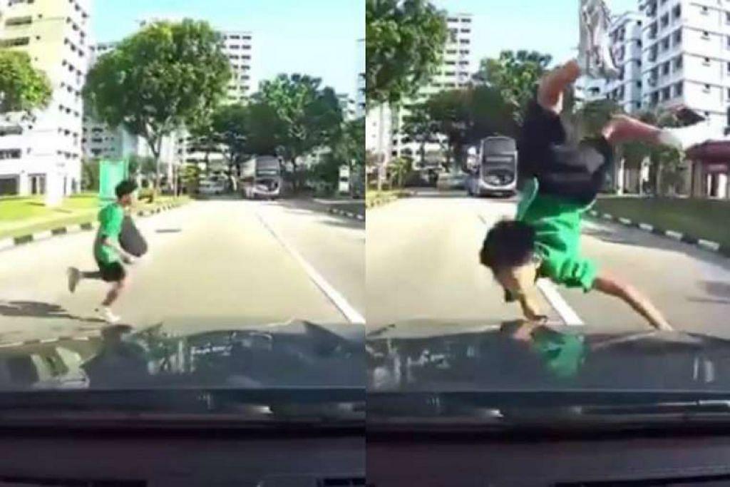 Kanak-kanak ini tercampak apabila dilanggar sebuah kereta dari arah depan selepas dia meluru untuk menyeberang jalan, semasa pandangan pemandu dikaburi oleh bas. GAMBAR: SCREENGRAB DARI YOUTUBE VIDEO