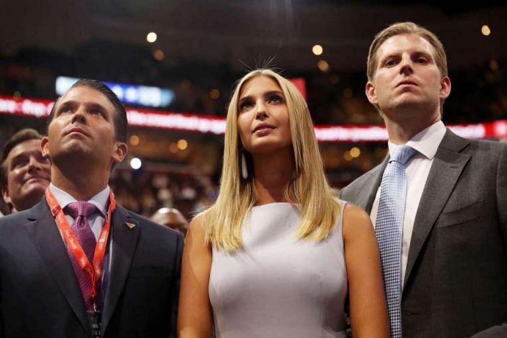 Anak Encik Donald Trump, (dari kiri) Encik Donald Trump Jr, Cik Ivanka Trump dan Encik Eric Trump, mengambil bahagian dalam konvensyen kebangsaan Republikan.