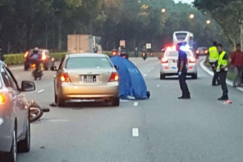 Kemalangan semasa waktu sibuk pagi itu berlaku di KJE arah ke Ekspreswe Rentas Pulau (PIE) selepas susur keluar Brickland Road.