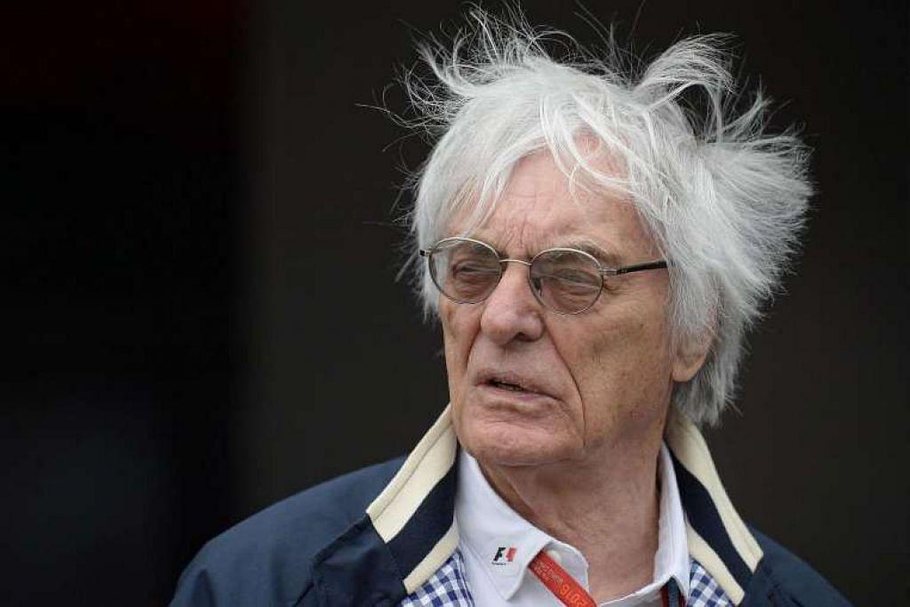 Encik Bernie Ecclestone selepas sesi latihan ketiga di litar lumba motor di Silverstone, England.