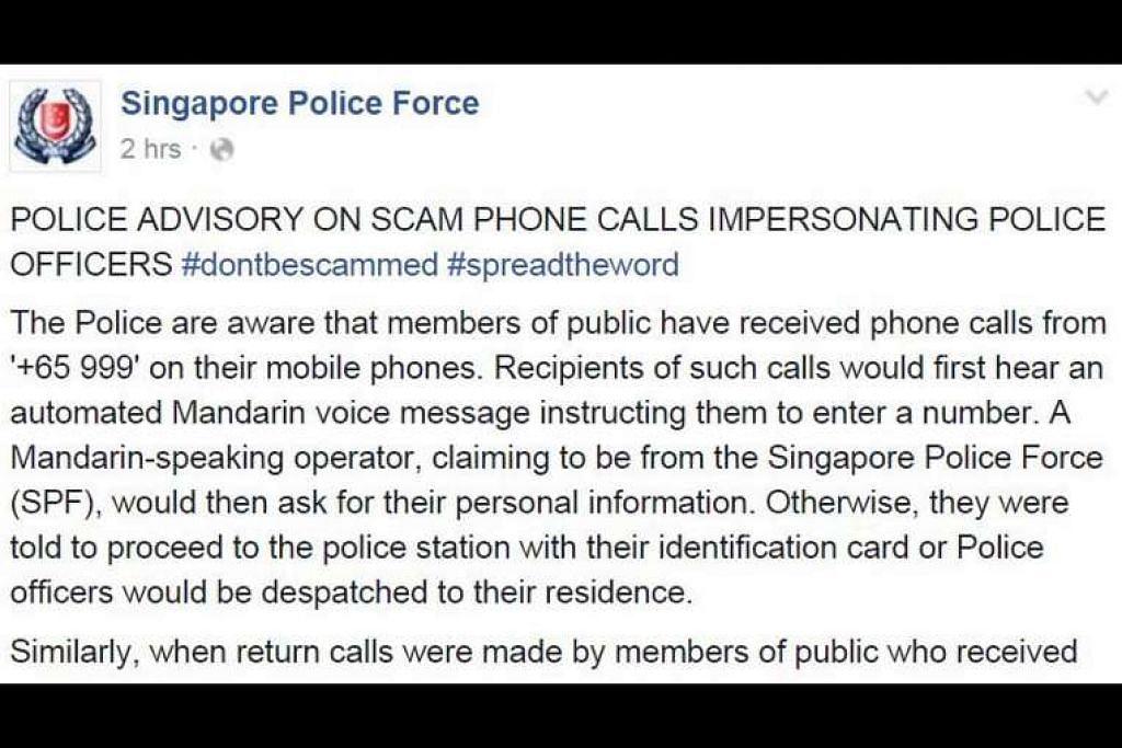 Nasihat polis di Facebook mengenai skim penipuan panggilan telefon menyamar sebagai pegawai polis. PHOTO: SCREENGRAB DARI FACEBOOK Diterbitkan