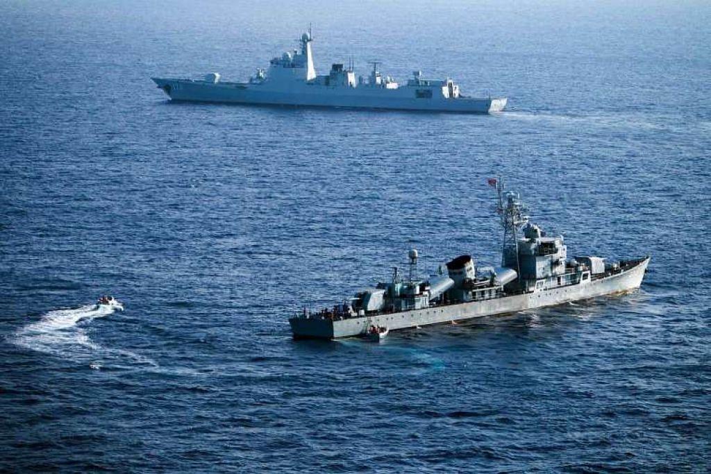 Kru Armada Laut Selatan China mengambil bahagian dalam latihan di Kepulauan Xisha, atau Kepulauan Paracel, di Laut China Selatan pada 5 Mei.