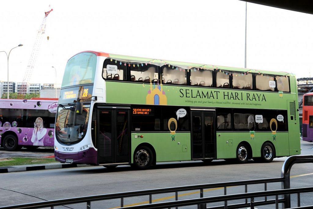 Tiga bas SBS Transit dihiasi sempena Hari Raya Aidilfitri Julai lalu. Sempena Aidiladha pada Isnin (12 Sep 2016), perkhidmatan MRT dan beberapa bas SBS Transit akan dilanjutkan pada Ahad (11 Sep).