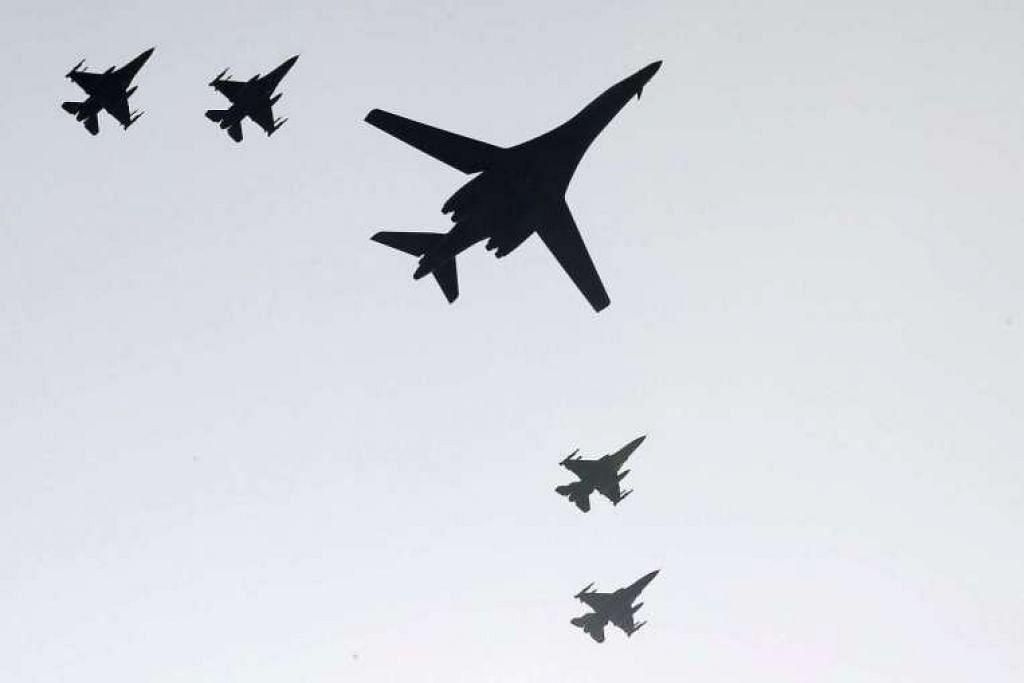 Jet pengebom strategik Amerika terbang di ruang udara Korea Selatan pada Isnin (12 Sep)  bagi menunjukkan kekuatan selepas Korea Utara menjalankan ujian nuklear kelimanya Jumaat (9 Sep).