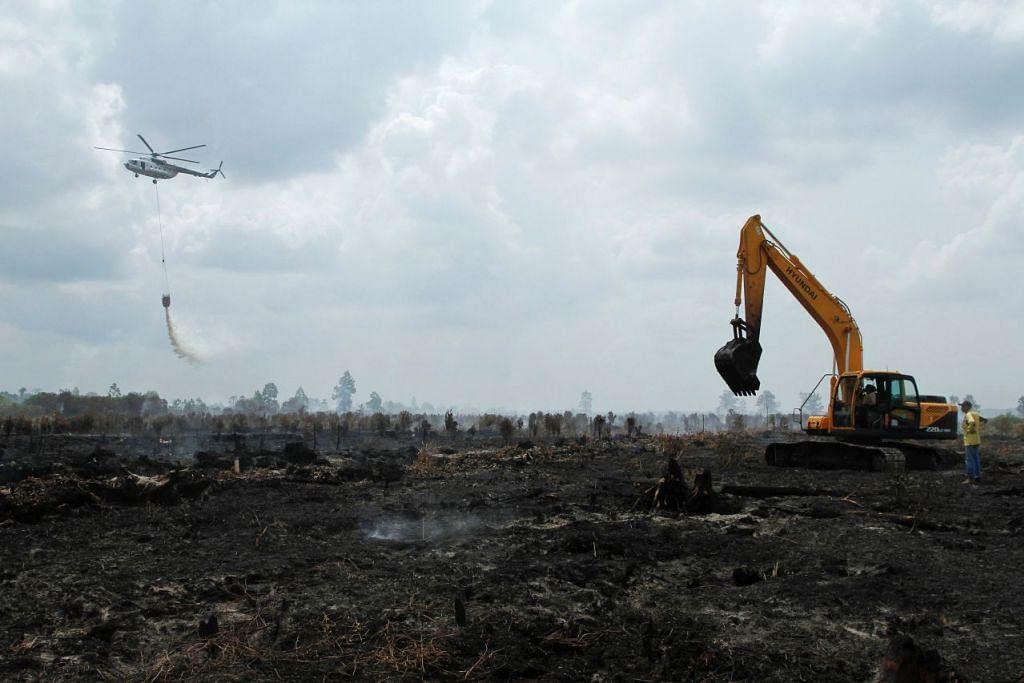 Gambar yang diambil pada 30 Ogos lalu ini menunjukkan sebuah helikopter penmerintah Indonesia  menjalankan misi pengeboman air bagi memadamkan kebakaran di wilayah Kampar, Riau.
