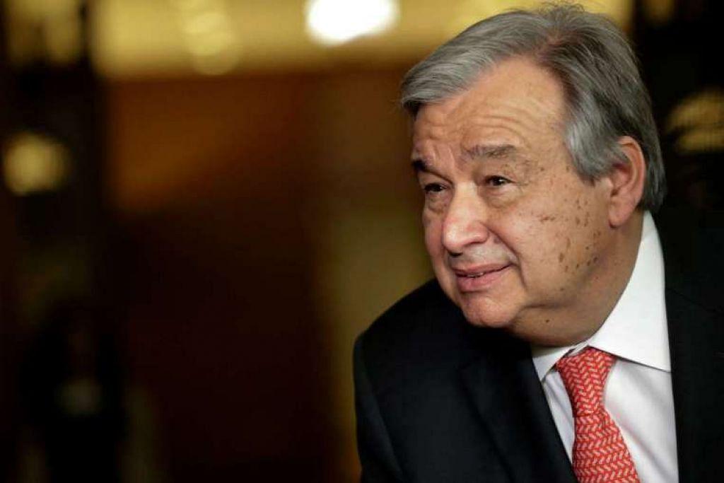 Encik Antonio Guterres bercakap kepada pemberita mengenai pemilihan setiausaha agung PBB pada April 2016.