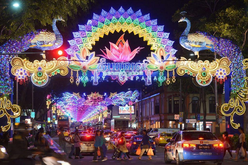 Serangoon Road dinyalakan dengan pertunjukan cahaya Deepavali pada 17 Sep.